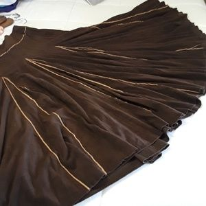 Tribal Sz 12T Brown faux suede Godet Skirt